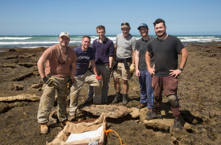 Museums Victoria's Palaeontolgy team conducting fieldwork on the Surf Coast_credit_John Broomfield