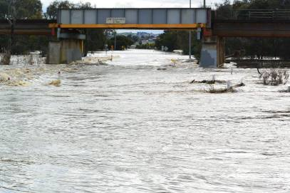 Breakwater bridge flood photo