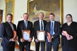 Corangamite award recipients Bret Ryan, Simon Falkiner, John Carr, Cam Nicholson and Angela Jeffery