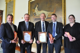 Corangamite award recipients Bret Ryan, Simon Falkiner, John Carr, Cam Nicholson and Angela Jeffery