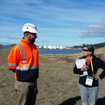Meeting staff from the Nyrstar zinc works on the Derwent River Estuary.