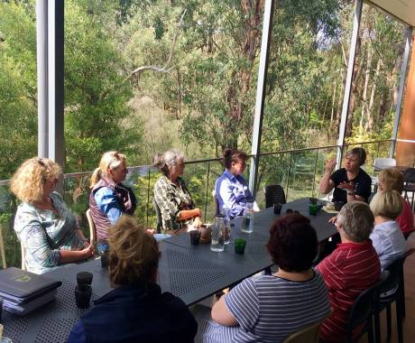 Mandy Bishop sharing some of her experiences and learnings with local rural women