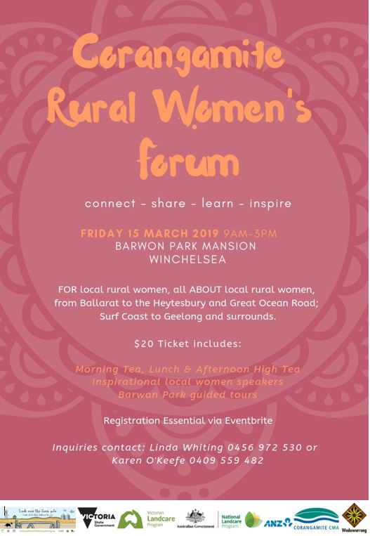 corangamite rural women's forum flyer page 1 logosv2